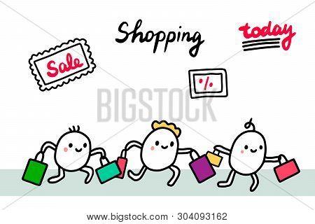 Shopping Hand Drawn Vector Illustration. Peolpe Running At Sale Days. Cute Minimalism