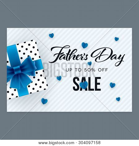 Fathers Day Sale Banner. Gift Box And Promotion Message On Horizontal Background For Fathers Day.