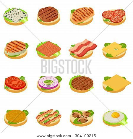 Nourishment Icons Set. Isometric Set Of 16 Nourishment Vector Icons For Web Isolated On White Backgr