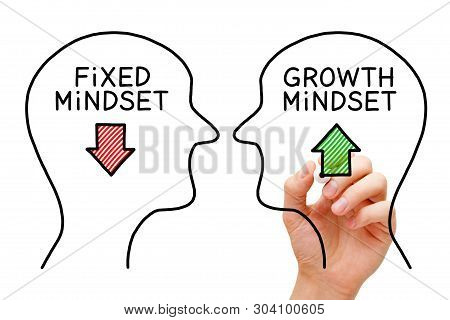 Hand Drawing Fixed Mindset Vs Growth Mindset Success Concept With Black Marker On Transparent Wipe B