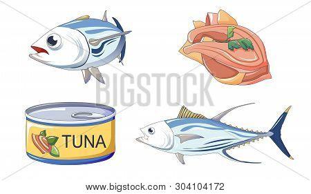 Tuna Fish Icons Set. Cartoon Set Of Tuna Fish Vector Icons For Web Design