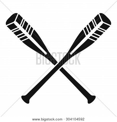 Crossed Striped Oars Icon. Simple Illustration Of Crossed Striped Oars Vector Icon For Web Design Is