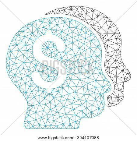 Mesh bankers model icon. Wire frame triangular mesh of vector bankers isolated on a white background. Abstract 2d mesh designed with triangular lines and round dots. poster