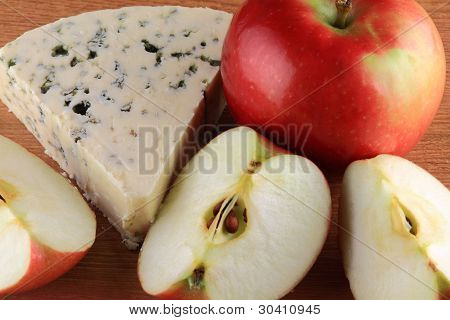 Blue Cheese Served With Tart Apples.
