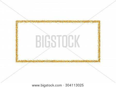 Gold Frame Isolated On White Background. Golden Glitter Confetti Texture. Gold Square Border, Shine