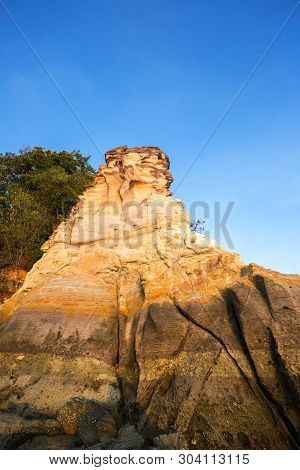 Natural Hole On Colorful Rocks At Laem Chamuk Khwai In Khao Thong,mueang Krabi District,krabi Provin