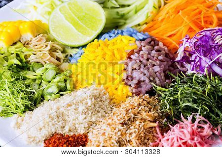 Khao-yum,search - Thai Cuisine, Spicy Rice Salad With Vegetable.