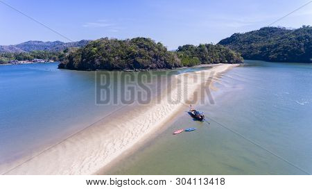 Separated Sea Is A Wonders Of The Dragon Spine Beach Satun Province Thailand.high Angle Drone