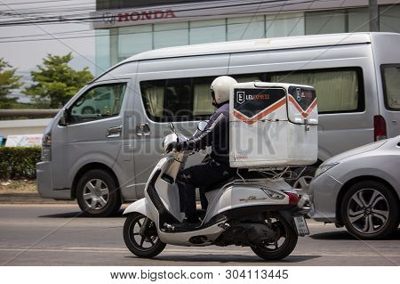 Chiangmai, Thailand - May 21 2019: Lazada Express And Logistics Mini Container Motorcycle. Photo At