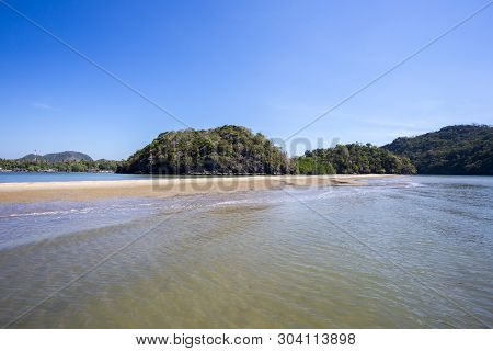Separated Sea Is A Wonders Of The Dragon Spine Beach Satun Province Thailand