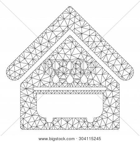Mesh Bathroom Model Icon. Wire Frame Polygonal Mesh Of Vector Bathroom Isolated On A White Backgroun