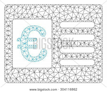 Mesh Euro Bank Account Model Icon. Wire Frame Polygonal Mesh Of Vector Euro Bank Account Isolated On