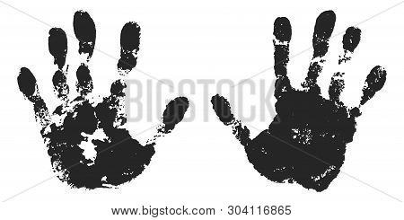 Hand Print Set Isolated On White Background. Black Paint Human Hands. Silhouette Child, Kid, Young P