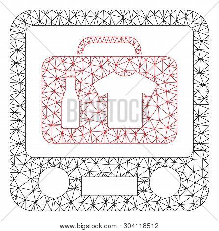 Mesh Baggage Xray Screening Model Icon. Wire Frame Triangular Mesh Of Vector Baggage Xray Screening
