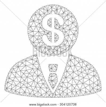 Mesh banker model icon. Wire frame polygonal mesh of vector banker isolated on a white background. Abstract 2d mesh designed with polygonal grid and points. poster