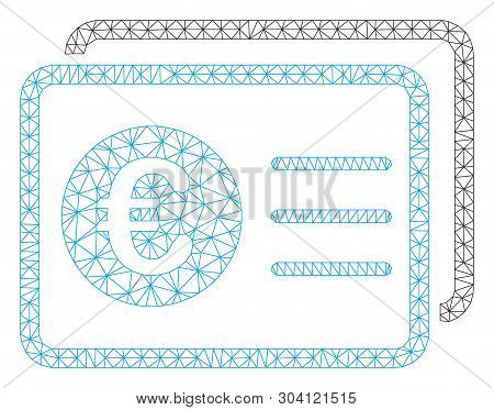 Mesh Euro Bank Accounts Model Icon. Wire Frame Polygonal Mesh Of Vector Euro Bank Accounts Isolated