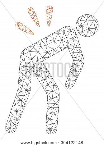 Mesh Backache Model Icon. Wire Frame Polygonal Mesh Of Vector Backache Isolated On A White Backgroun