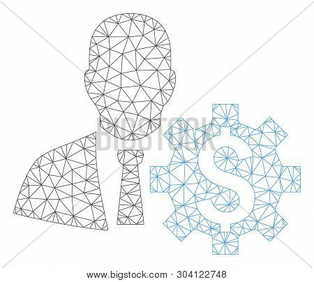 Mesh banker options model icon. Wire carcass polygonal mesh of vector banker options isolated on a white background. Abstract 2d mesh designed with polygonal grid and spheric points. poster