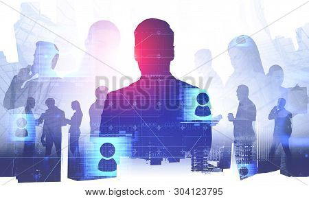 Silhouettes Of Business People Over Abstract City Background With Double Exposure Of Social Media Ic
