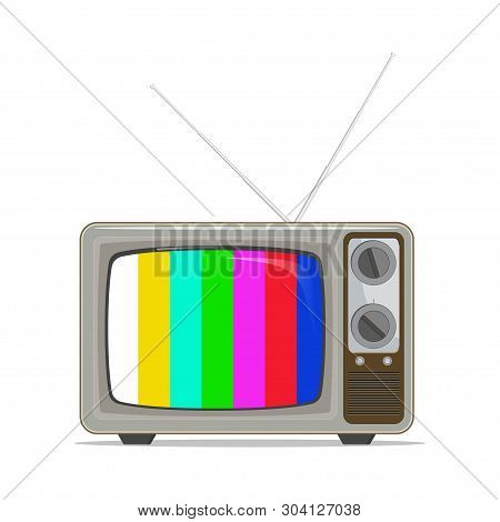 Retro, Old-fashioned, Vintage Tv With No Signal Screen. Template In Flat Design. Vector Illustration
