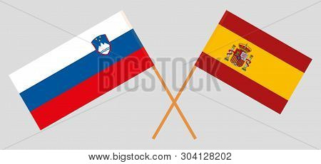 Slovenia And Spain. The Slovenian And Spanish Flags. Official Colors. Correct Proportion. Vector Ill