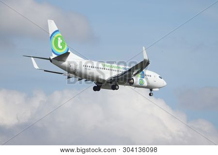 Amsterdam, The Netherlands - May 30th 2019: Ph-xry Transavia Boeing 737-700 Final Approaching To Pol