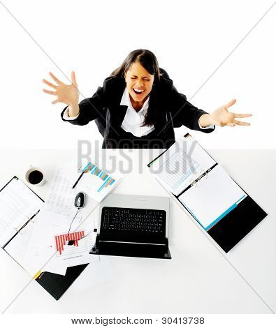 businesswoman is stressed and asks for help with a gesture of arms out towards the camera. helplessness and overwhelmed