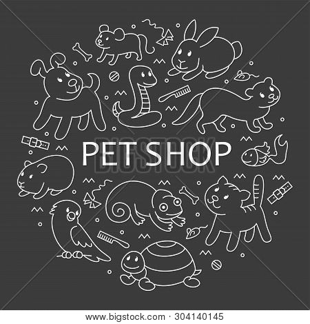 Pet Shop, Types Of Pets In Circle Template, Cartoon Illustrations Animals In Line Style. Logo, Picto