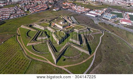 Aerial. Fort Santa Luzia In Elvas From Above. Portugal