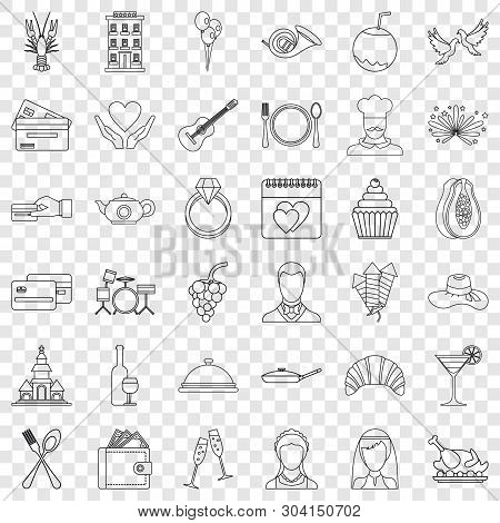 Wedding Cafe Icons Set. Outline Style Of 36 Wedding Cafe Vector Icons For Web For Any Design