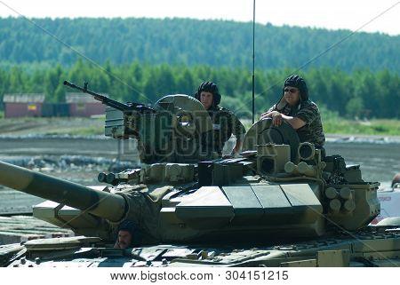 Nizhniy Tagil, Russia - July 12. 2008: Modernized Tank T-72 Crew, Rae-2008 Exhibition
