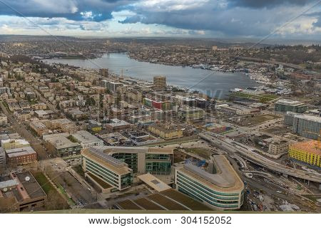 Sweeping View Of The Seattle Skyline From The Viewing Platform On The Space Needle, With The Puget S