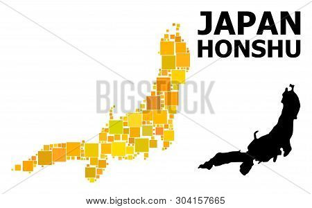 Gold Square Pattern And Solid Map Of Honshu Island. Vector Geographic Map Of Honshu Island In Yellow