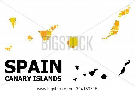 Gold Square Mosaic And Solid Map Of Canary Islands. Vector Geographic Map Of Canary Islands In Yello