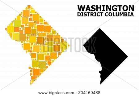 Gold Square Mosaic And Solid Map Of District Columbia. Vector Geographic Map Of District Columbia In