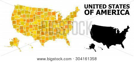 Gold Square Mosaic And Solid Map Of Usa Territories. Vector Geographic Map Of Usa Territories In Yel
