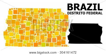Gold Square Mosaic And Solid Map Of Brazil - Distrito Federal. Vector Geographic Map Of Brazil - Dis