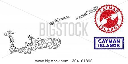 Wire Frame Polygonal Cayman Islands Map And Grunge Seal Stamps. Abstract Lines And Small Circles For