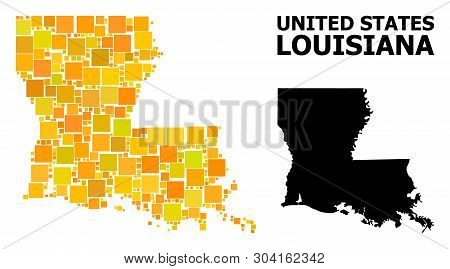 Gold Square Pattern And Solid Map Of Louisiana State. Vector Geographic Map Of Louisiana State In Ye