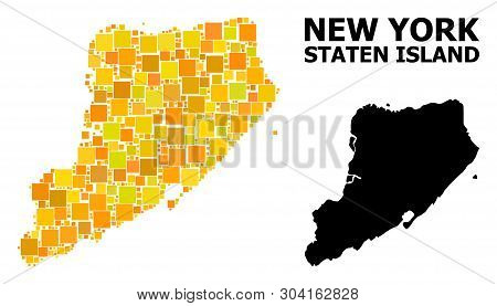 Gold Square Mosaic And Solid Map Of Staten Island. Vector Geographic Map Of Staten Island In Yellow