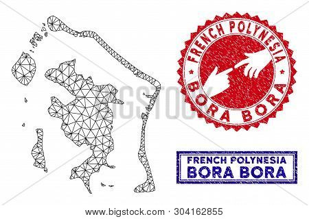 Wire Frame Polygonal Bora-bora Map And Grunge Seal Stamps. Abstract Lines And Spheric Points Form Bo