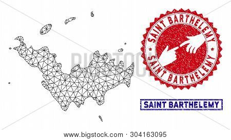 Network Polygonal Saint Barthelemy Map And Grunge Seal Stamps. Abstract Lines And Small Circles Form