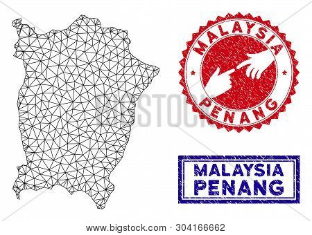 Wire Frame Polygonal Penang Island Map And Grunge Seal Stamps. Abstract Lines And Dots Form Penang I