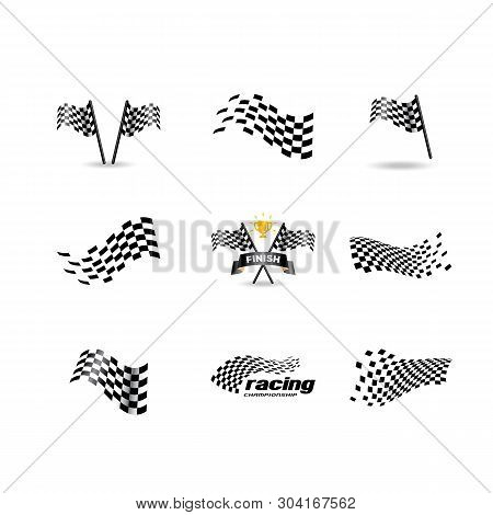 Race Flag Vector Icon Symbols. Simple Design Checkered Flag Logo Template