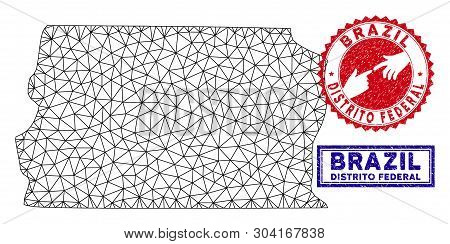 Carcass Polygonal Brazil Distrito Federal Map And Grunge Seal Stamps. Abstract Lines And Small Circl