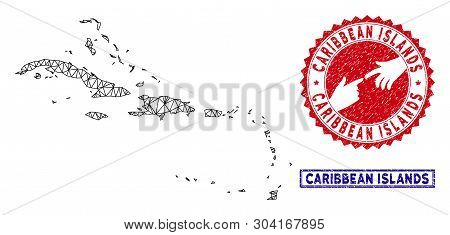 Carcass Polygonal Caribbean Islands Map And Grunge Seal Stamps. Abstract Lines And Small Circles For