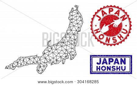 Network Polygonal Honshu Island Map And Grunge Seal Stamps. Abstract Lines And Small Circles Form Ho