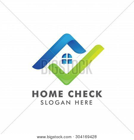 Home Logo Template With Check Mark. Logo For Real Estate Agency. Check Home Icon Symbol Designs