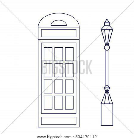 London Phonebox Geometric Illustration Isolated On White. London City Line Art Decoration Series.