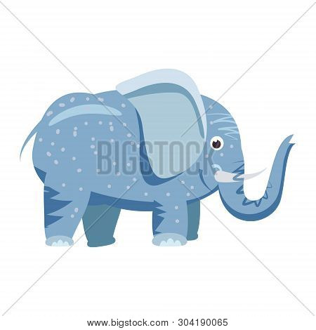 Cute Elefant, Animal, Trend, Cartoon Style, Vector, Illustration, Isolated On White Background